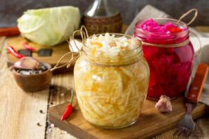 Sauerkraut is finely-shredded cabbage that's often eaten with sausage